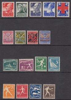The Netherlands 1927/1928 - Red Cross stamps, Children stamps and Olympiad - NVPH 203 to 219