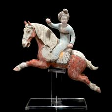 Fine Chinese Horse and Polo Player with Oxford TL Test - China - Tang Dynasty