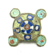"Ancient Roman Bronze Enameled ""Millefiori"" Fibula /Brooch - 26mm"