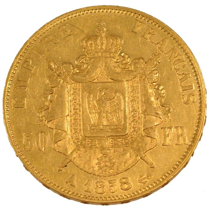 France - 50 Francs 1858 A - Napoléon III - gold