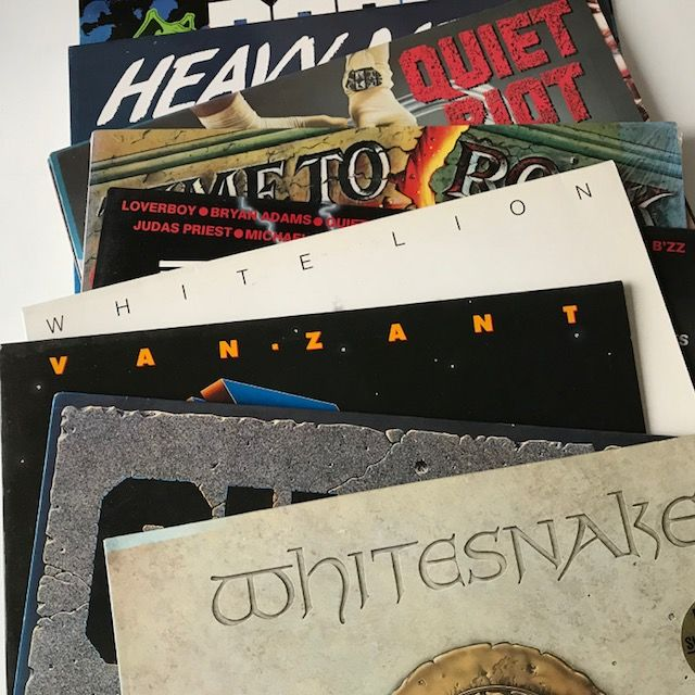Quiet Riot, Whitesnake, White Lion, etc - lot of 10 heavy metal LPs including samplers like Time To Rock (sealed with patch)