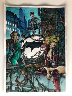 Carlos Eduardo Cunha  - Original Painting In Pen, Ink & Gouache Of Poison Ivy, Cat Woman & Harley Quinn - (2017)