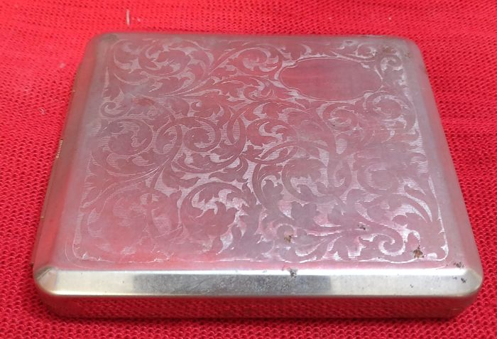 Finely worked and chiselled Sheffield Silver cigarette case, Venezia, Italy, early 20th century