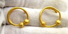 Pair of Medieval Viking Period Gold Coiled Earrings with Beads - 15-16mm (2)