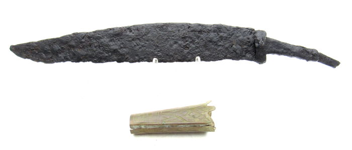 Ancient Iron Age Dagger with Decorated Scabbard Tip - 51-237mm