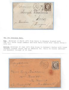 France 1876 - Ceres Issues, 30c. Overseas Rate to Hungary and Great Britain (Bakewell) - with 30c.