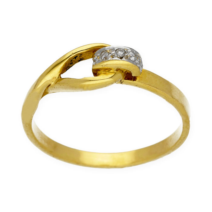 Yellow gold, 750/1000 (18 kt)  - Cocktail ring with diamonds of 0.05 ct - Inner diameter: 17.10 mm - Ring size: 13 (Spain)