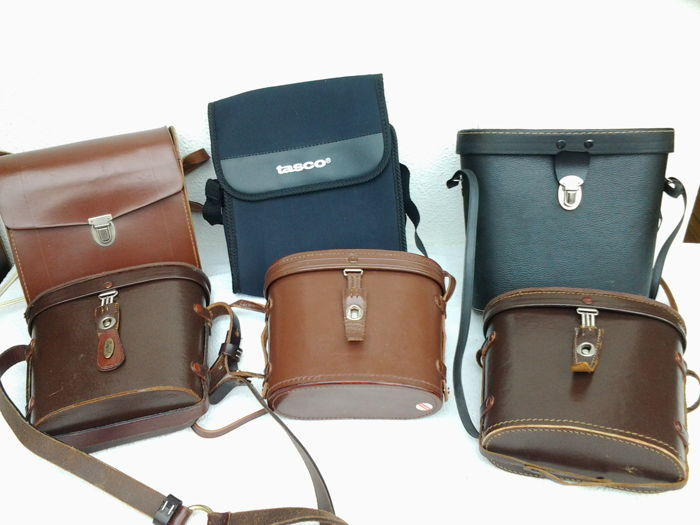5 extremely strong binocular cases + 5 similar of canvas + + one in (luxury) carrying case version