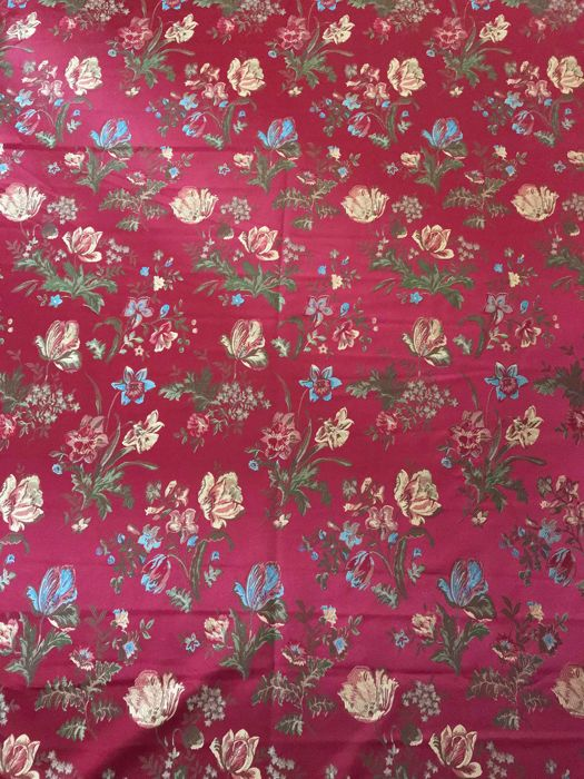 "5.60 metres of fine ""San Leucio"" burgundy damask fabric Louis XVI style - 20th century"