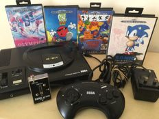 SEGA Mega Drive Games Console + Controller + 4 Games inc Rare Cool Spot & More + All Leads