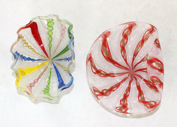 Murano (unattributed) - 2 small vintage Zanfirico glass dishes