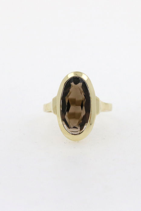 Antique 14 kt/585 women's gold ring with smoky topaz - size 55