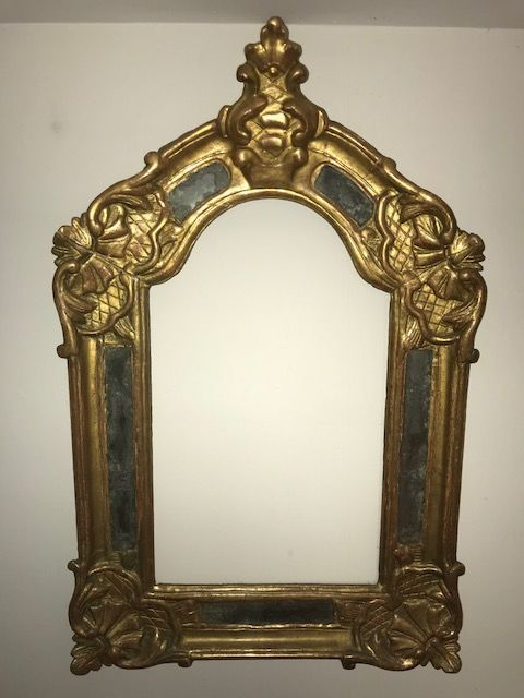 Carved wooden frame/mirror, gilded with gold leaf, Italy, late 18th-early 19th c.