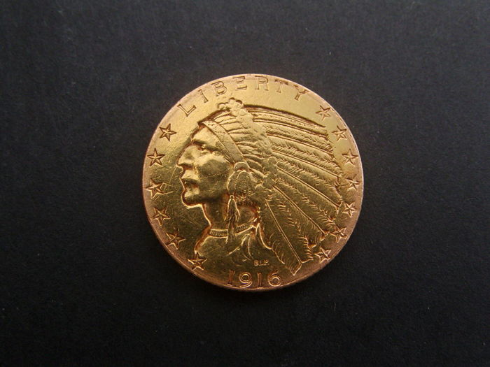 "United States - 5 Dollars 1916 (San Francisco) ""Indian Head"" - Gold"