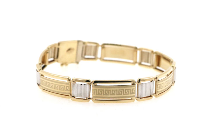 585 yellow and white gold bracelet - length 22 cm - width 11.28 mm