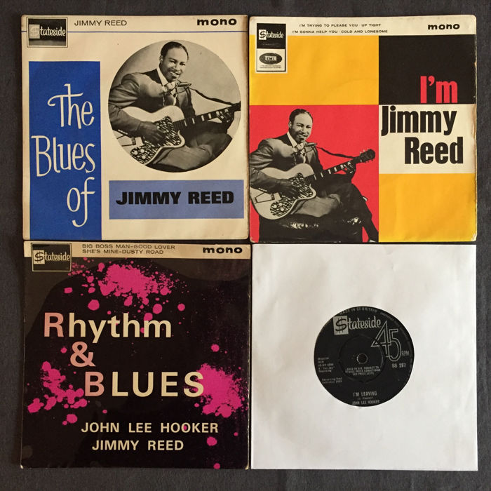 Jimmy Reed and John Lee Hooker - Lot of three EP's (Mono) and one 45 RPM single record - (1962/1964)