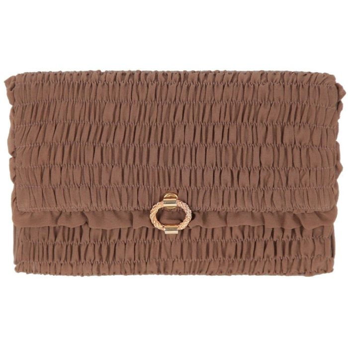 Gucci - Vintage Brown Goffered Fabric Clutch Handbag EVENING BAG