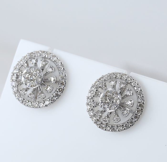 Earrings - white gold with diamonds of 1.26 ct weight 5.57 grams new