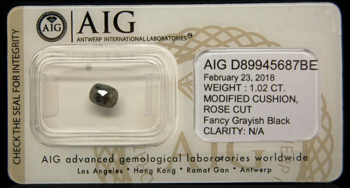 1.02 Cts Certified Natural Fancy Grayish Black Diamond -No reserve