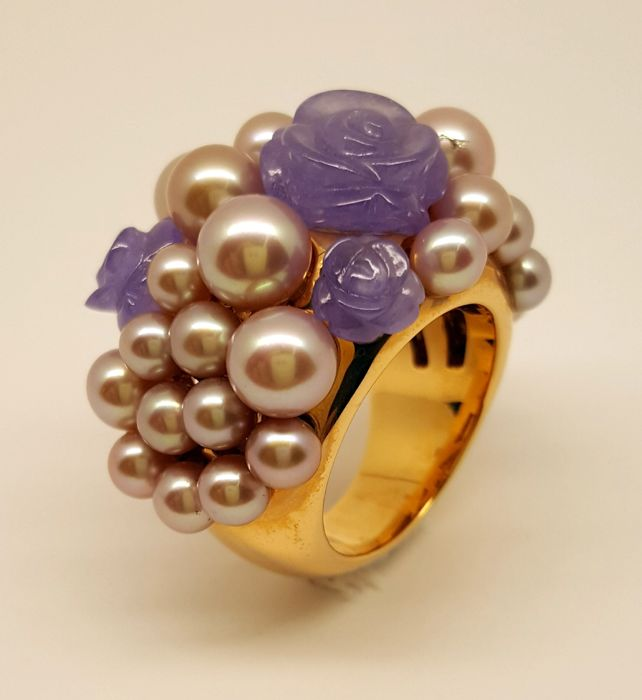 Mimì Milano - Rose gold ring with pearls and lavender jade roses - Size 13/53