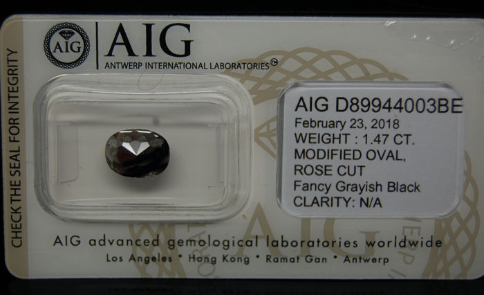 1.47 Cts Certified Natural Fancy Grayish Black Diamond -No reserve