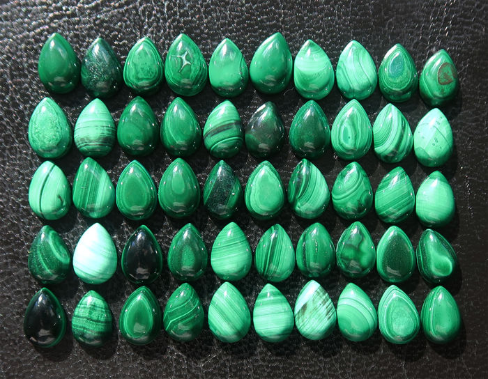Lot of cabochons in natural Malachite - 1 x 0.7 cm - 152 ct (50)