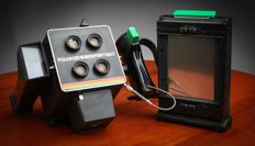 Polaroid Miniportrait Model 402 4-Shot Instant Camera + Ormaf Polaroid Thermoback Filmholder