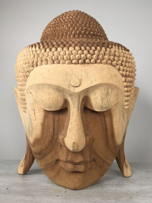 Large Wooden Buddha Head - Indonesia – early 21st century