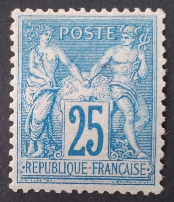 France 1877 - Sage, type II, N under U, 25c blue - Yvert n° 79