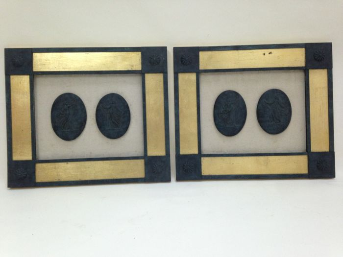 A Pair of Framed Greek Cameos, mid 20th century