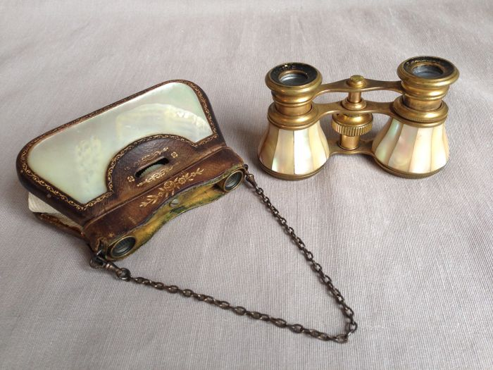 Two  beautiful antique opera glasses with mother-of-pearl France, circa 1910