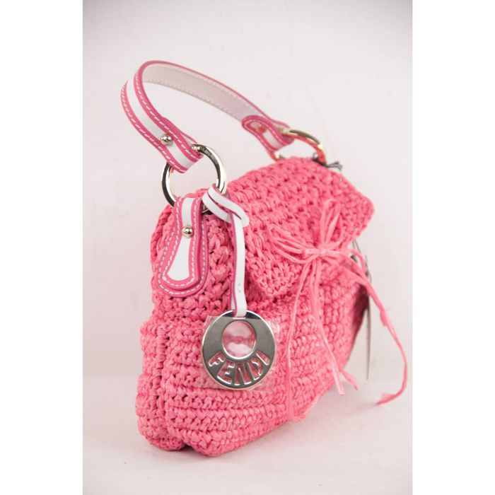 Fendi - Italian Pink Woven RAFFIA Straw CHEF BAG Flap Purse HANDBAG