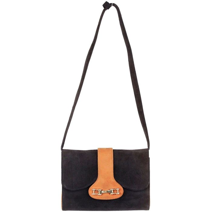 Gucci - Vintage Navy Blue and Tan Bicolor Suede Shoulder Bag