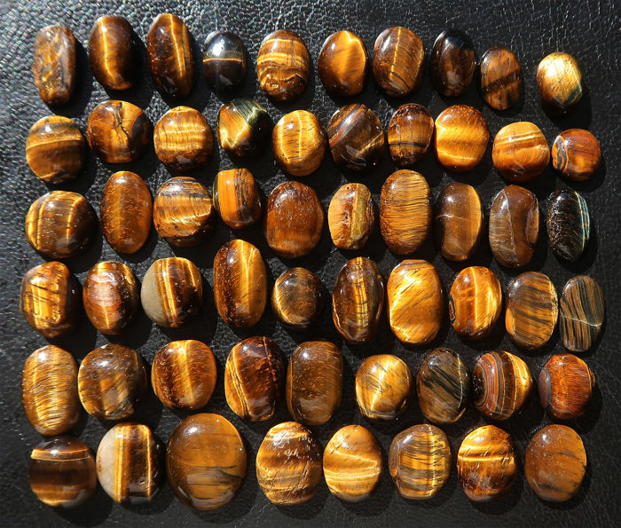 Lot of big cabochons in natural Tiger's eye - 1.3 to 2.1 cm - 481 ct (57)