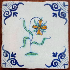 Rare, intact tile with a depiction of a violet, Holland, ca. 1620-1640