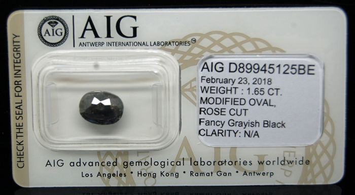 1.65 Cts Certified Natural Fancy Grayish Black Diamond -No reserve