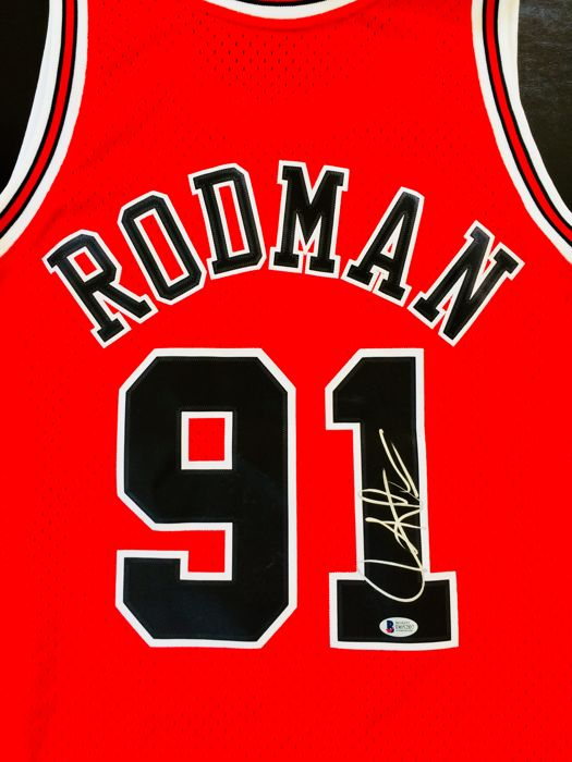 Dennis Rodman #91 / Chicago Bulls - Authentic & Original Signed Home Jersey - with Certificate of Authenticity BECKETT