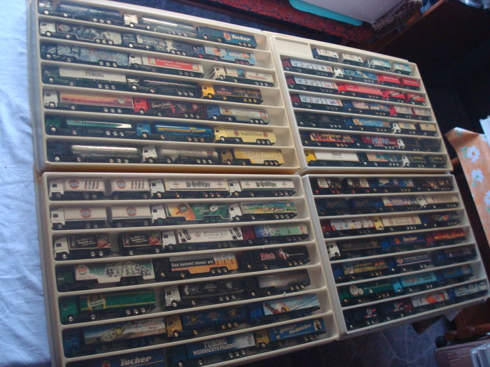 Collection - brewery trucks, advertising trucks, some rarities, in collection boxes, 83 pieces