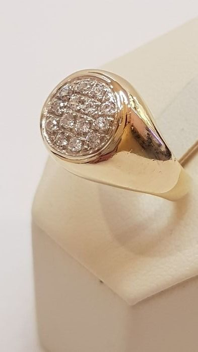 Pinky ring in 18 kt gold, size 16