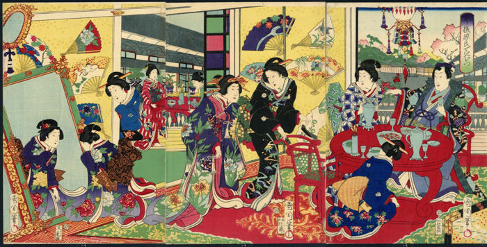 "Original woodblock print triptych by Toyohara Kunichika (1835–1900)  - ""A Contemporary Genji Brush"" - Japan - 1868"