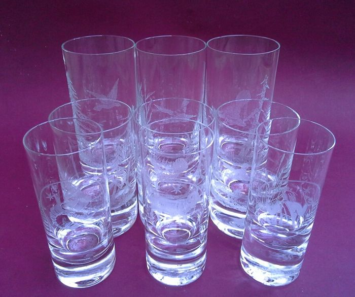 Oldrich Lipa for Moser - Hand engraved Bohemian - 9 glasses - signed