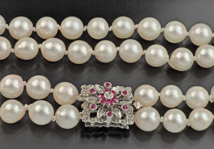Sea/salty pearl Necklace approx. 6,8 -  7 mm  white gold  Clasp set with 12 natural rubies and 1 diamond, each ca. 0.01 ct