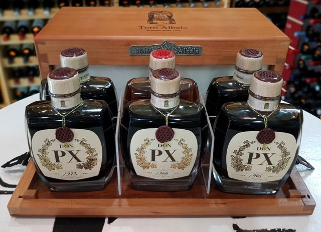 Toro Albala: 5x Don PX - Pedro Ximenez (1931 & 1955 & 1965 & 1968 & 1973) & 1x 1951 Marques de Poley - Amontillado - 6 bottles (0.2l) in OWC