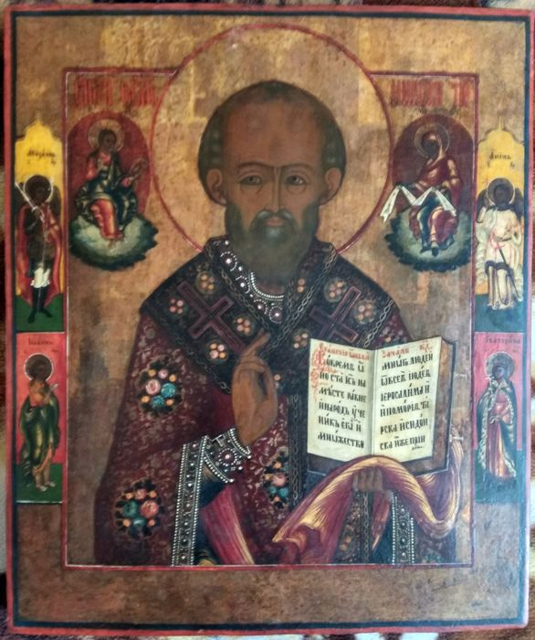 Russian icon - St. Nicholas (44 x 37 x 4 cm) - late 19th century