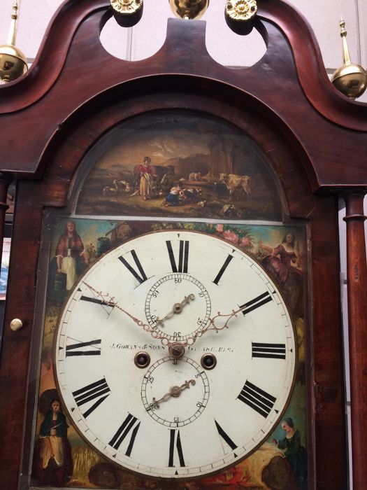 Mahogany English longcase clock with painted, signed dial - Period c. 1860