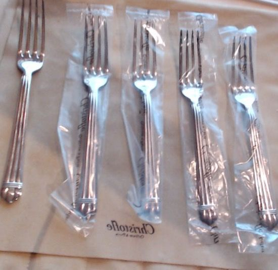 Complete set of 5x fruit forks, Aria Collection, by Christofle 1984