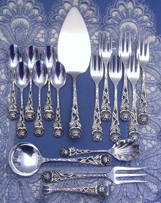 Beautiful Silver cutlery Hildesheim rose for 6 people - 17 pieces