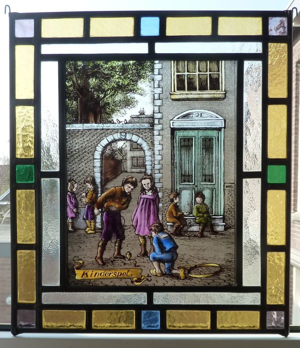 "Beautiful stained glass sun catch ""Kinderspel"" depicting children playing near a city wall"