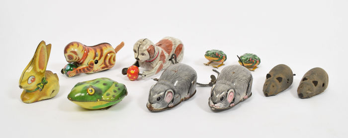 Various brands (Lehmann/Kanto/Yone and others), Japan / West Germany - 10 wind-up tin toy animals