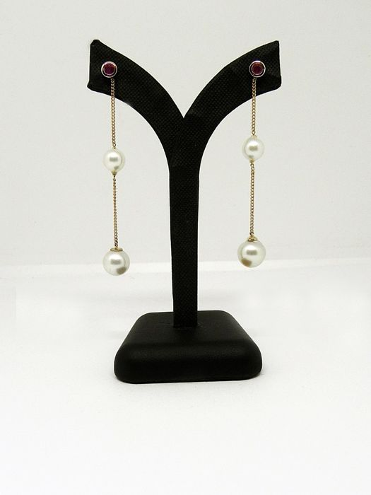 14K Jellow Gold with Rubies and Akoya Pearls Dangling Stud Earrings - no. 4 Akoya Pearls from 7,20 to 9,20 mm - Made In Italy